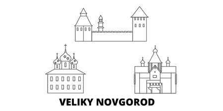Russia, Veliki Novgorod line travel skyline set. Russia, Veliki Novgorod outline city vector panorama, illustration, travel sights, landmarks, streets.