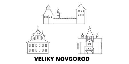 Russland, Veliki Novgorod Linie Reisen Skyline Set. Russland, Veliki Novgorod skizzieren Stadtvektorpanorama, Illustration, Reiseanblicke, Sehenswürdigkeiten, Straßen.