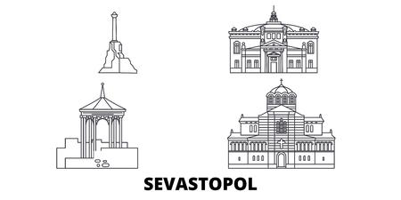 Rusia, Sebastopol, la línea del horizonte de viaje. Rusia, Sebastopol esquema panorama vectorial de la ciudad, ilustración, lugares turísticos, monumentos, calles.