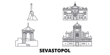 Russia, Sevastopol line travel skyline set. Russia, Sevastopol outline city vector panorama, illustration, travel sights, landmarks, streets. 写真素材 - 120650042