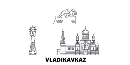 Russia, Vladikavkaz line travel skyline set. Russia, Vladikavkaz outline city vector panorama, illustration, travel sights, landmarks, streets.