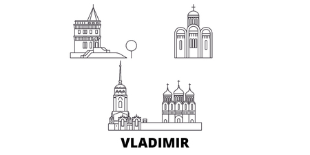 Russia, Vladimir line travel skyline set. Russia, Vladimir outline city vector panorama, illustration, travel sights, landmarks, streets.