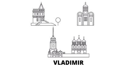 Russia, Vladimir line travel skyline set. Russia, Vladimir outline city vector panorama, illustration, travel sights, landmarks, streets.