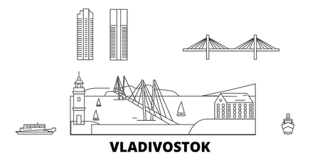 Russia, Vladivostok line travel skyline set. Russia, Vladivostok outline city vector panorama, illustration, travel sights, landmarks, streets. Illusztráció