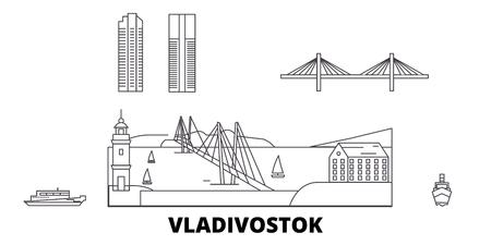 Russia, Vladivostok line travel skyline set. Russia, Vladivostok outline city vector panorama, illustration, travel sights, landmarks, streets. Illustration