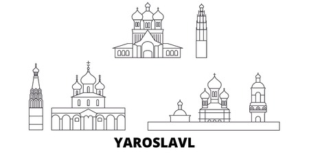 Russia, Yaroslavl line travel skyline set. Russia, Yaroslavl outline city vector panorama, illustration, travel sights, landmarks, streets.