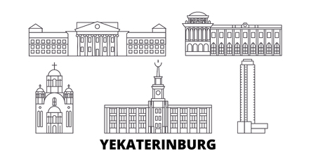 Russia, Yekaterinburg line travel skyline set. Russia, Yekaterinburg outline city vector panorama, illustration, travel sights, landmarks, streets.