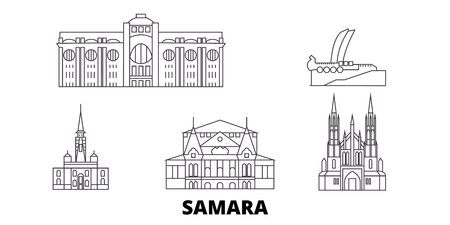 Russia, Samara line travel skyline set. Russia, Samara outline city vector panorama, illustration, travel sights, landmarks, streets. 일러스트