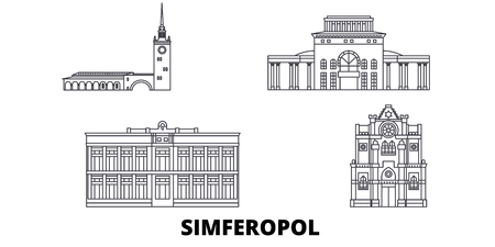 Russia, Simferopol line travel skyline set. Russia, Simferopol outline city vector panorama, illustration, travel sights, landmarks, streets.