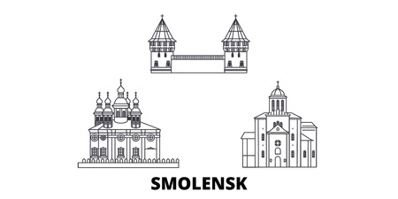 Russia, Smolensk line travel skyline set. Russia, Smolensk outline city vector panorama, illustration, travel sights, landmarks, streets. Illustration