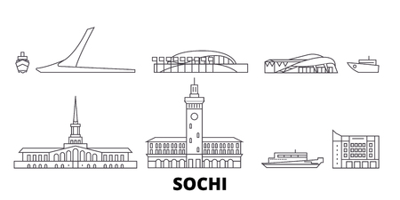 Russia, Sochi line travel skyline set. Russia, Sochi outline city vector panorama, illustration, travel sights, landmarks, streets. Illustration