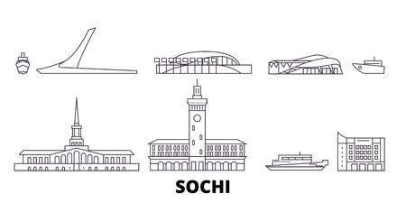 Russland, Sotschi Linie Reisen Skyline Set. Russland, Sotschi skizzieren Stadtvektorpanorama, Illustration, Reiseanblicke, Sehenswürdigkeiten, Straßen. Vektorgrafik