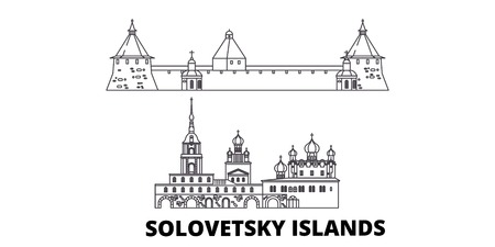 Russia, Solovetsky Islands line travel skyline set. Russia, Solovetsky Islands outline city vector panorama, illustration, travel sights, landmarks, streets.