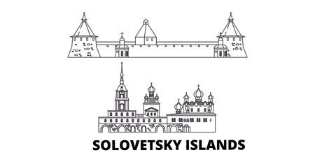 Russia, Solovetsky Islands line travel skyline set. Russia, Solovetsky Islands outline city vector panorama, illustration, travel sights, landmarks, streets.