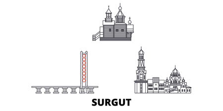 Russia, Surgut  line travel skyline set. Russia, Surgut  outline city vector panorama, illustration, travel sights, landmarks, streets.