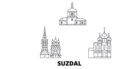 Russia, Suzdal line travel skyline set. Russia, Suzdal outline city vector panorama, illustration, travel sights, landmarks, streets.