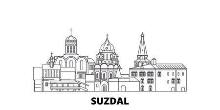 Russia, Suzdal City line travel skyline set. Russia, Suzdal City outline city vector panorama, illustration, travel sights, landmarks, streets.