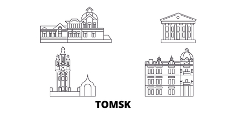 Russia, Tomsk line travel skyline set. Russia, Tomsk outline city vector panorama, illustration, travel sights, landmarks, streets. Illustration