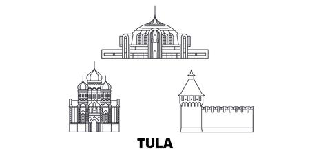 Russland, Tula-Linie reisen Skyline-Set. Russland, Tula skizzieren Stadtvektorpanorama, Illustration, Reiseanblicke, Sehenswürdigkeiten, Straßen.