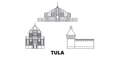 Russia, Tula line travel skyline set. Russia, Tula outline city vector panorama, illustration, travel sights, landmarks, streets.