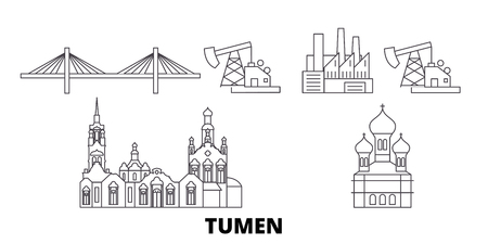 Russia, Tumen line travel skyline set. Russia, Tumen outline city vector panorama, illustration, travel sights, landmarks, streets.