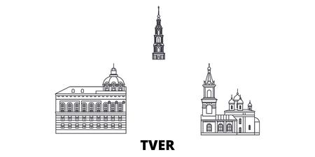 Russia, Tver line travel skyline set. Russia, Tver outline city vector panorama, illustration, travel sights, landmarks, streets.