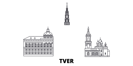 Russia, Tver line travel skyline set. Russia, Tver outline city vector panorama, illustration, travel sights, landmarks, streets.