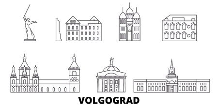 Russia, Volgograd line travel skyline set. Russia, Volgograd outline city vector panorama, illustration, travel sights, landmarks, streets.
