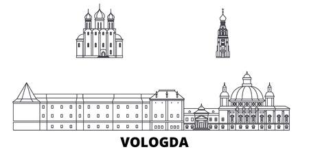 Russland, Wologda Linie Reisen Skyline Set. Russland, Wologda umreißen Stadtvektorpanorama, Illustration, Reiseanblicke, Sehenswürdigkeiten, Straßen.
