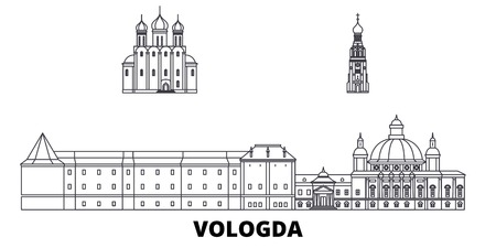 Russia, Vologda line travel skyline set. Russia, Vologda outline city vector panorama, illustration, travel sights, landmarks, streets. Illustration