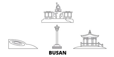 South Korea, Busan line travel skyline set. South Korea, Busan outline city vector panorama, illustration, travel sights, landmarks, streets. Ilustração