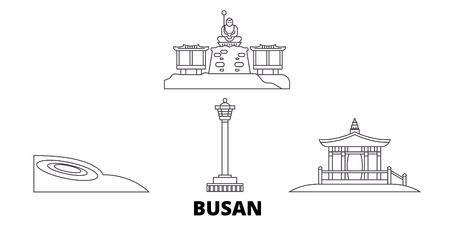 South Korea, Busan line travel skyline set. South Korea, Busan outline city vector panorama, illustration, travel sights, landmarks, streets. Illustration