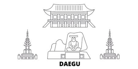 South Korea, Daegu line travel skyline set. South Korea, Daegu outline city vector panorama, illustration, travel sights, landmarks, streets.
