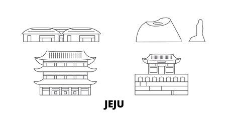 South Korea, Jeju line travel skyline set. South Korea, Jeju outline city vector panorama, illustration, travel sights, landmarks, streets.