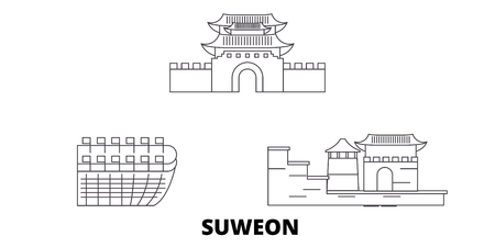 South Korea, Suweon line travel skyline set. South Korea, Suweon outline city vector panorama, illustration, travel sights, landmarks, streets. 写真素材 - 120650111