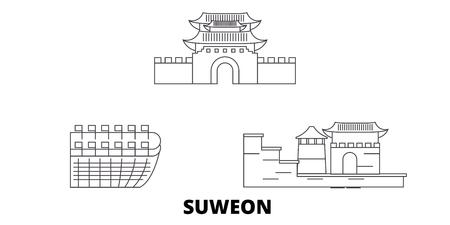 South Korea, Suweon line travel skyline set. South Korea, Suweon outline city vector panorama, illustration, travel sights, landmarks, streets.