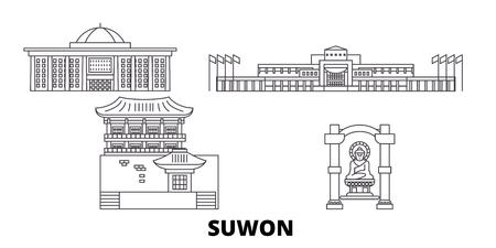 South Korea, Suwon line travel skyline set. South Korea, Suwon outline city vector panorama, illustration, travel sights, landmarks, streets.