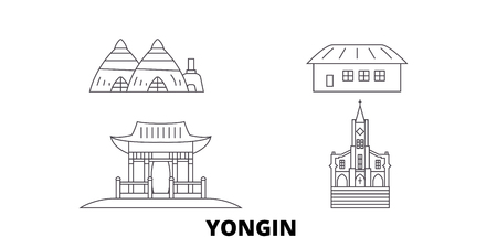 South Korea, Yongin line travel skyline set. South Korea, Yongin outline city vector panorama, illustration, travel sights, landmarks, streets.