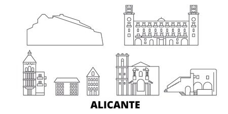 Spain, Alicante line travel skyline set. Spain, Alicante outline city vector panorama, illustration, travel sights, landmarks, streets.