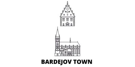 Słowacja, zestaw panoramę miasta Bardejov podróży. Słowacja, Bardejov Miasto zarys panorama wektora miasta, ilustracja, zabytki podróży, zabytki, ulice.