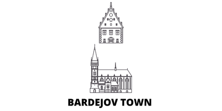 Slovakia, Bardejov Town line travel skyline set. Slovakia, Bardejov Town outline city vector panorama, illustration, travel sights, landmarks, streets. Stock fotó - 120650188
