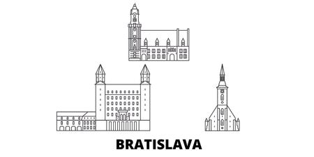 Slovakia, Bratislava line travel skyline set. Slovakia, Bratislava outline city vector panorama, illustration, travel sights, landmarks, streets. Çizim