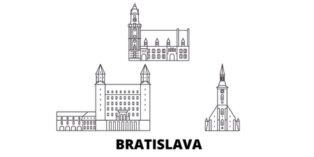 Slovakia, Bratislava line travel skyline set. Slovakia, Bratislava outline city vector panorama, illustration, travel sights, landmarks, streets. Illustration