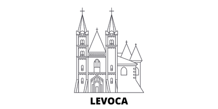 Slovakia, Levoca line travel skyline set. Slovakia, Levoca outline city vector panorama, illustration, travel sights, landmarks, streets. Ilustração