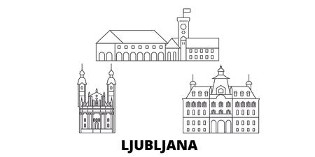 Slovenia, Ljubljana line travel skyline set. Slovenia, Ljubljana outline city vector panorama, illustration, travel sights, landmarks, streets. Ilustração