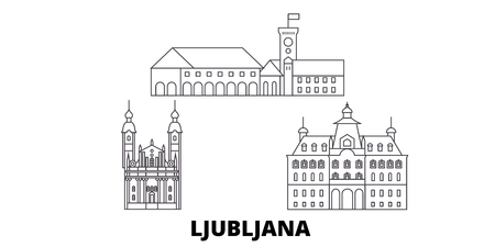 Slovenia, Ljubljana line travel skyline set. Slovenia, Ljubljana outline city vector panorama, illustration, travel sights, landmarks, streets. Illustration