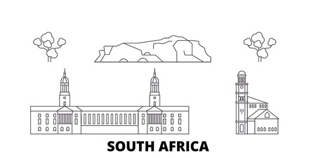 South Africa line travel skyline set. South Africa outline city vector panorama, illustration, travel sights, landmarks, streets.