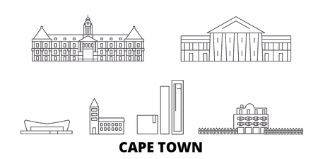 South Africa, Cape Town line travel skyline set. South Africa, Cape Town outline city vector panorama, illustration, travel sights, landmarks, streets. 写真素材 - 123897134