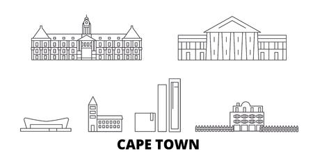 South Africa, Cape Town line travel skyline set. South Africa, Cape Town outline city vector panorama, illustration, travel sights, landmarks, streets.