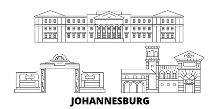 South Africa, Johannesburg line travel skyline set. South Africa, Johannesburg outline city vector panorama, illustration, travel sights, landmarks, streets.